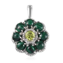 6 Carat Malachite and Hebei Peridot Floral Pendant in Silver Tone