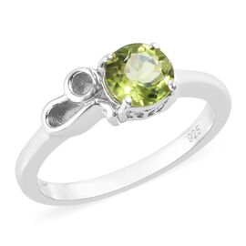 Chinese Peridot (0.75 Ct) Platinum Overlay Sterling Silver Ring  0.750  Ct.