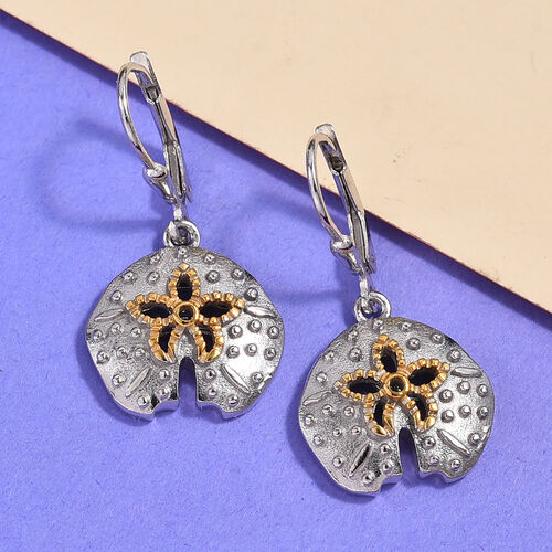 Platinum and Yellow Gold Overlay Sterling Silver Lever Back Earrings, Silver wt 5.40 Gms