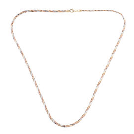 9K Tricolour Gold Rope Necklace (Size - 20) with Lobster Clasp,  Gold Wt 8.95 Gms