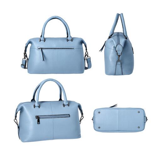 Super Soft 100% Genuine Leather Solid Light Blue Satchel Bag with Adjustable Shoulder Strap and Zipper Closure (32x14x23cm)