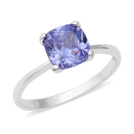 ELANZA Swiss Star Simulated Tanzanite Solitaire Ring in Rhodium Plated Sterling Silver