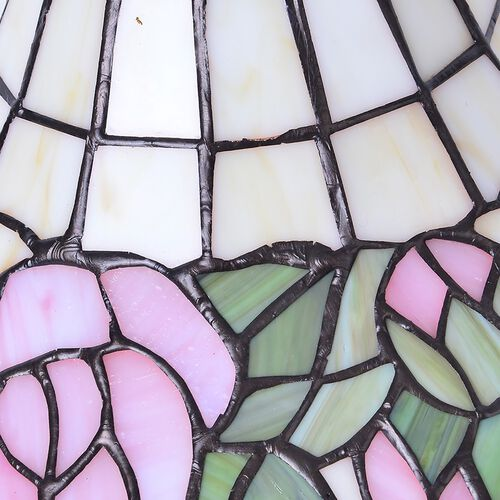 Luxury Edition - Tiffany Style Table Lamp with Stained Glass - Light Pink and Multi Colour Mosaic Rose Flower Home decor.