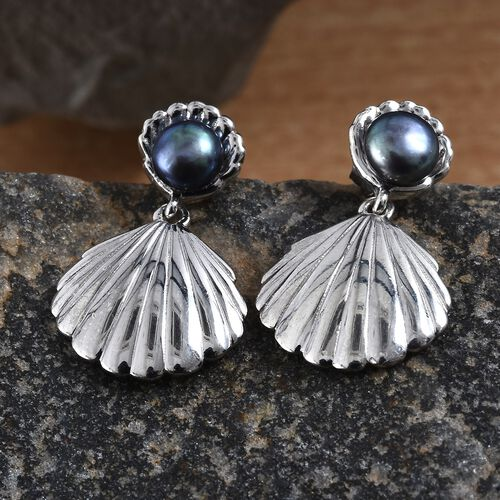 Fresh Water Peacock Pearl (5.00 Ct) Platinum Overlay Sterling Silver Earring  1.500  Ct.