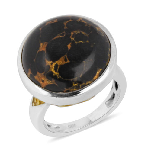 Arizona Mojave Black Turquoise (Rnd) Ring in Platinum and Yellow Gold Overlay Sterling Silver 15.250 Ct.