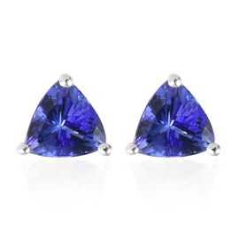 ILIANA 18K White Gold 1.25 Ct AAA Tanzanite Stud Earrings (with Screw Back)