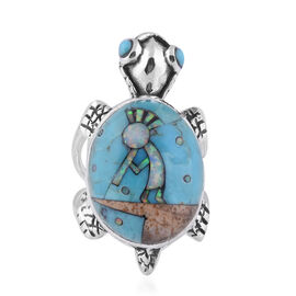 Santa Fe Collection - Multi Gemstones Turtle Ring in Sterling Silver 6.000 Ct.