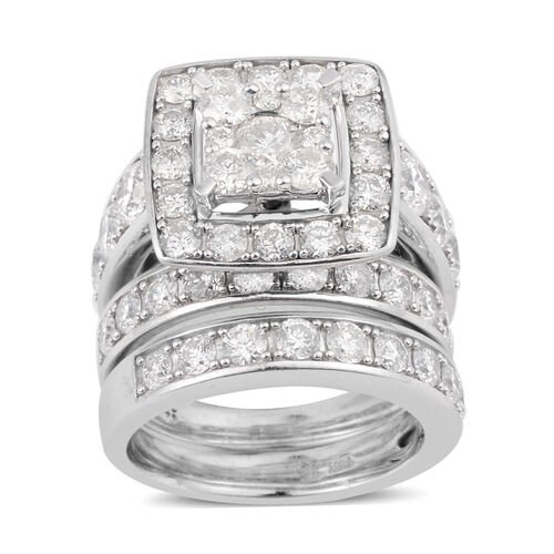 Set of 3 14K White Gold Diamond (Rnd) (I1-I2/G-H) Ring 4.00 Ct., Gold wt 15.60 Gms.Size M