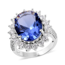 Simulated Tanzanite (Ovl 16x12 mm), Simulated Diamond Ring in Silver Plated