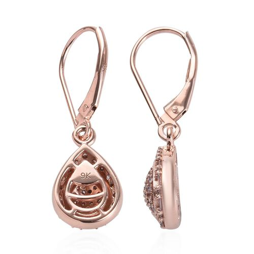 9K Rose Gold Natural Pink Diamond (Rnd and Bgt) Lever Back Earrings 0.500 Ct.