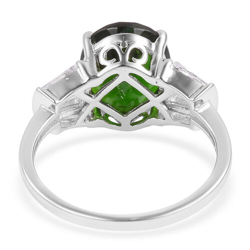 Collectors Edition- Extremerly Rare Size Russian Diopside (Ovl 12X10 mm 5.25 Ct), White Topaz Ring in Rhodium Plated Sterling Silver 6.150 Ct.