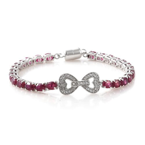 Signature Collection-AAA African Ruby (Ovl),Natural Cambodian Zircon Bracelet (Size 7.5) in Platinum Overlay Sterling Silver with Magnetic Clasp 20.500 Ct,