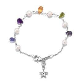 GP - Freshwater Pearl (Rnd), Amethyst, Citrine, Iolite, Hebei Peridot and Blue Sapphire Bracelet (Si