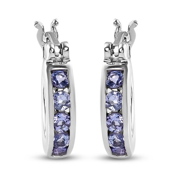 1 Carat Tanzanite Hoop Earrings in Platinum Plated Sterling Silver