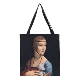 SIGNARE-Tapestry Collection - Vinci Lady with an Ermine Art Shoulder Tote Bag ( 37 x 36 x 6 Cms )