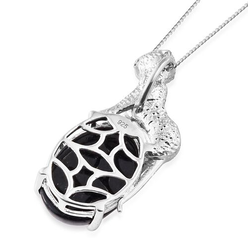 Vintage Inspired - Black Jade (Ovl) Wild Life Inspired Pendant with Chain in Platinum Overlay Sterling Silver 14.000 Ct.