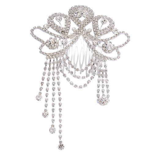 (Option 2) Simulated White Diamond and White Austrian Crystal Hair Bow Comb in Silver Tone