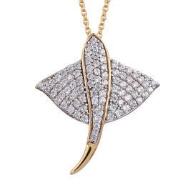 Natural Cambodian Zircon (Rnd) Manta Ray Fish Pendant With Chain (Size 18) in 14K Gold Overlay Sterl