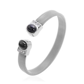 Boi Ploi Black Spinel and White Austrain Crystal Cuff Bangle (Size 7) in Stainless Steel