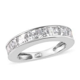 J Francis Made with SWAROVSKI ZIRCONIA Eternity Band Ring in Platinum Plated Sterling Silver