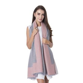 Designer Inspired Wool - Rich Pink and Grey Colour Shawl (Size 180x70 Cm)