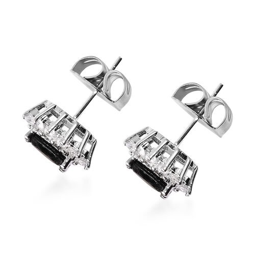 3 Piece Set - Boi Ploi Black Spinel and Simulated Diamond Sunburst Theme Ring, Stud Earrings (with Push Back) and Pendant with Chain (Size 20 with 2 inch Extender) in Silver Tone