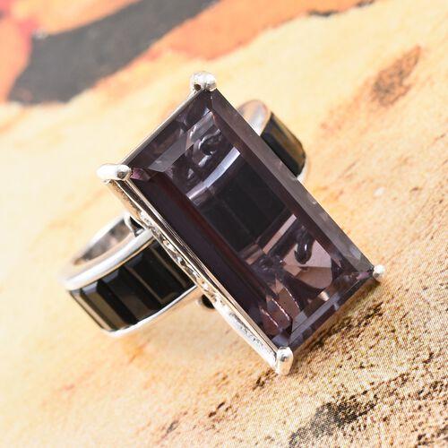 Alexandria Quartz (Bgt 12.25 Ct), Boi Ploi Black Spinel Ring in Platinum Overlay Sterling Silver 16.250 Ct.