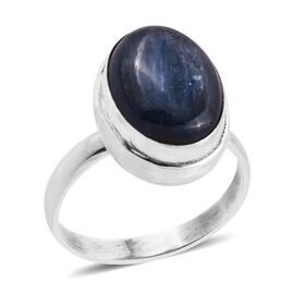Kashmir Blue Kyanite (Ovl 16x12 mm) Solitaire Ring in Sterling Silver 8.620 Ct, Silver wt 5.20 Gms.
