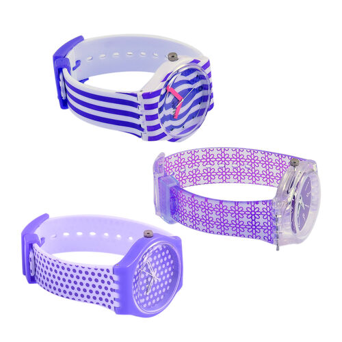 Set of 3 - STRADA Japanese Movement Purple and Blue Colour Stripes, Polka Dots and Floral Pattern Watch with Silicone Strap