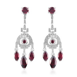 Rhodolite Garnet Dangle Earrings (with Push Back) in Platinum Overlay Sterling Silver 3.75 Ct.