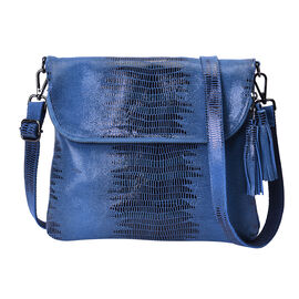 100% Genuine Leather Lizard Skin Pattern Crossbody Bag with Adjustable Strap (Size 24x3x24 Cm) - Blu