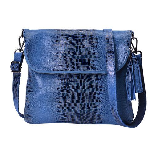 100% Genuine Leather Lizard Skin Pattern Crossbody Bag with Adjustable Strap (Size 24x3x24 Cm) - Blu
