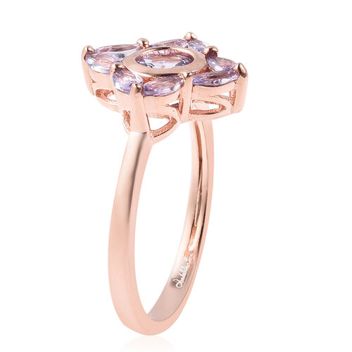 Isabella Liu Floral Collection - Tanzanite Floral Ring in Rose Gold Overlay Sterling Silver 1.22 Ct.