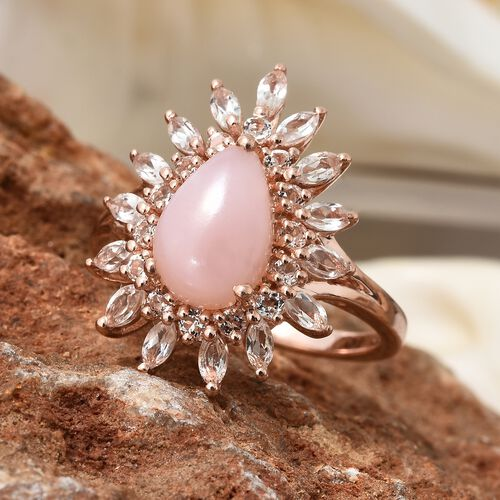 Peruvian Pink Opal (Pear 1.85 Ct), White Topaz Ring in Rose Gold Overlay Sterling Silver 4.000 Ct. Silver wt 5.06 Gms.