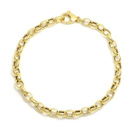 Viale Argento Yellow Gold Overlay Sterling Silver Oval Rolo Bracelet (Size 8)