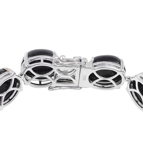 Burmese Black Jade (Ovl) Bracelet (Size 7.75) and Stud Earrings (with Push Back) in Platinum Overlay Sterling Silver 108.000 Ct.