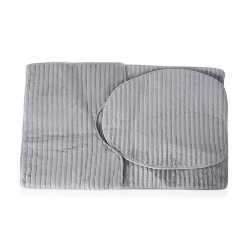 3 Pcs Bath Set - Grey Colour Bath Mats (Size 80x50 cm), Toilet Seat Cover (47x40 cm) and Contour Mat