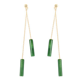 Green Jade Dangle Earrings (with Push Back) in Yellow Gold Overlay Sterling Silver 14.50 Ct.
