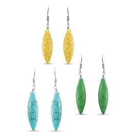 Set of 3 - Green, Yellow and Blue Howlite Hook Earrings in Sterling Silver 45.00 Ct.