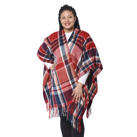 Plaid Pattern Kimono with Tassel Hem in Red and Navy (110x80 cm)