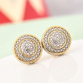 Diamond Stud Earrings in 14K Gold Overlay Sterling Silver