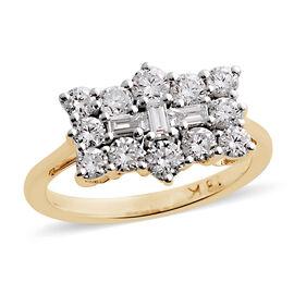 ILIANA 18K Yellow Gold IGI Certified Diamond (Bgt) (SI/ G-H) Boat Cluster Ring 1.000 Ct.