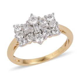 ILIANA 18K Yellow Gold IGI Certified Diamond (Bgt and Rnd) (SI/GH) Boat Cluster Ring 1.000 Ct.