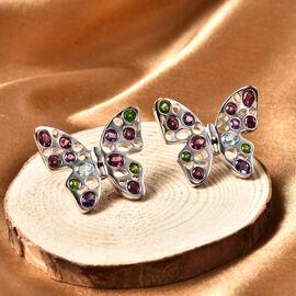 Rachel Galley Flutter (Butterflies) Collection - Swiss Blue Topaz, Rhodolite Garnet, Russian Diopside and Amethyst Earrings in Rhodium Overlay Sterling Silver 3.65 ct, Silver wt 12.26 Gms