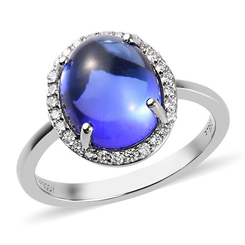 HeirLoom Collection RHAPSODY 4.95 Ct AAAA Tanzanite and Diamond Halo Ring in 950 Platinum VS EF