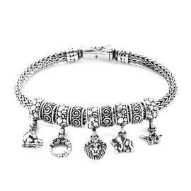 Royal Bali Multi Charm Tulang Naga Bracelet in Sterling Silver 6.5 Inch
