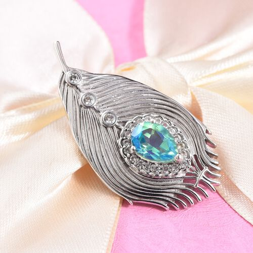 Peacock Quartz (Pear 10x7mm), Natural Cambodian Zircon Peacock Feather Brooch in Platinum Overlay Sterling Silver 2.63 Ct, Silver wt 8.50 Gms