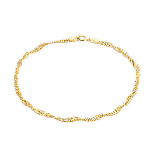 Designer Inspired 9K Yellow Gold Twisted Curb Bracelet (Size 7.5)
