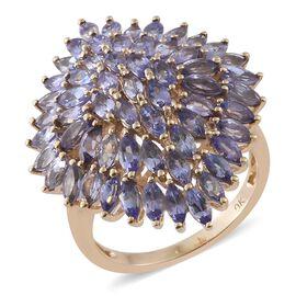 9K Yellow Gold AA Tanzanite (Mrq) Cluster Ring 4.000 Ct.