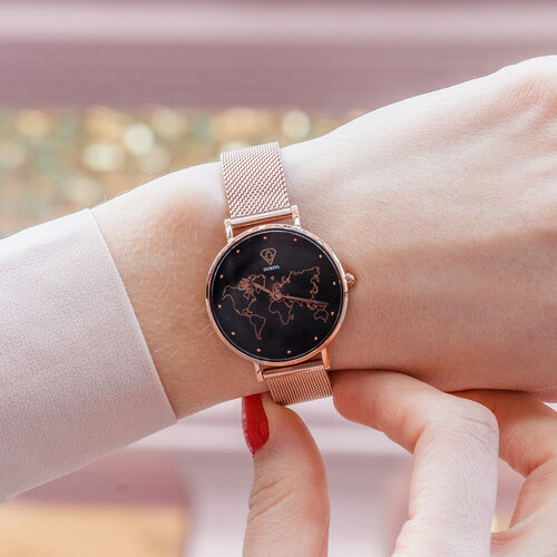 Neptune Carte du Monde Black/Rose Gold Mesh Watch